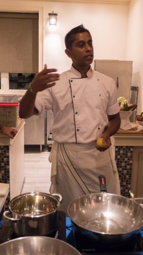 Chef Eranga of Risposta Bistro teaching a cooking class